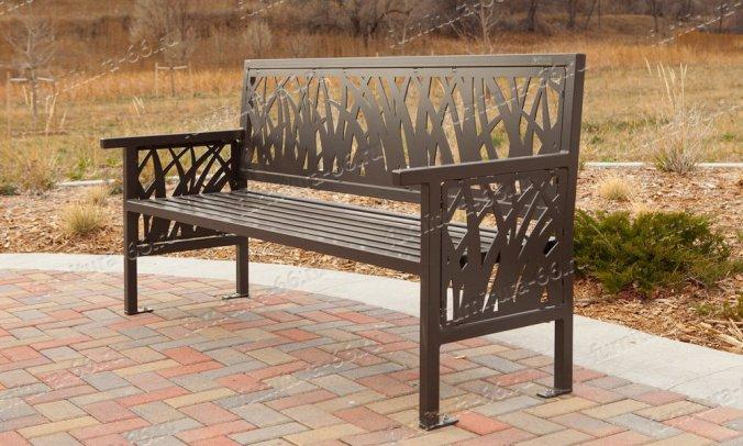 Скамейка металлическая со спинкой